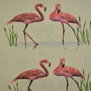 Katoenen Canvas tropische flamingos