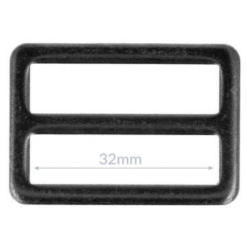 Opry Vierkantring Flache - Dark Silver - 32mm