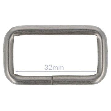 Opry Vierkantring - Mat Silver - 32mm