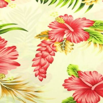 Viscose - Tropical Flowers on White