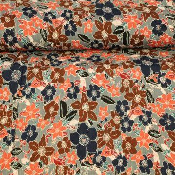Cotton Viscose - Happy Flowers Grey