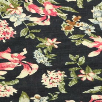 Cotton Viscose - Flowergarden on Navy