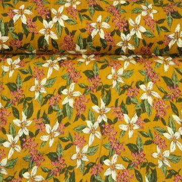 Cotton Viscose - Wildflowers on Ocher