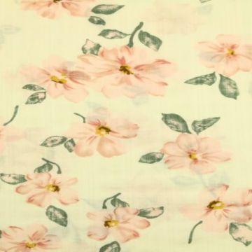 Cotton Viscose - Romantic Flower on Creme