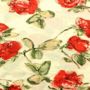 Cotton Viscose - Arty Roses on Creme