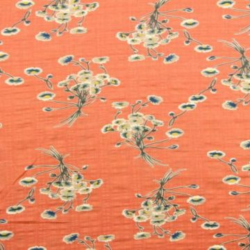 Cotton Viscose - Field Bouquet on Coral