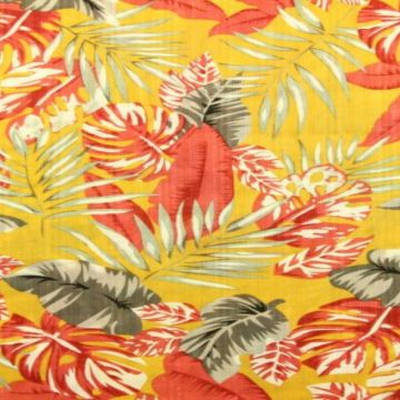 Cotton Viscose - Red Grey leaves on Ocher