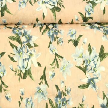 Cotton Viscose - Lilies on Old Pink