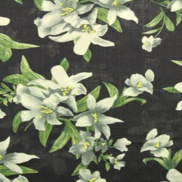Cotton Viscose - Chic Lilies on Navy