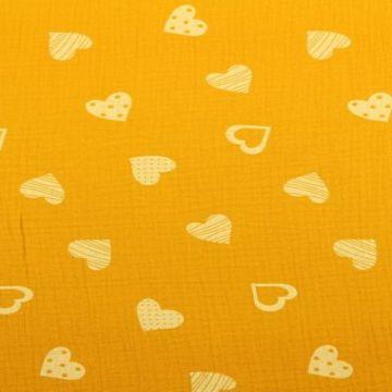 Musselin - Lovely Hearts Ocher