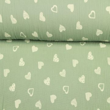 Musselin - Lovely Hearts Vintage Groen