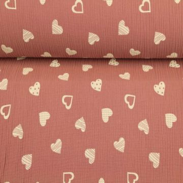 Musselin - Lovely Hearts Vintage Pink