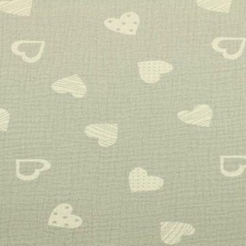 Musselin - Lovely Hearts Light Grey