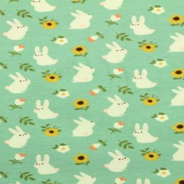 katoenen tricot met konijnen met bloemen