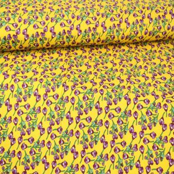 Purple Floral on Ocher Yellow