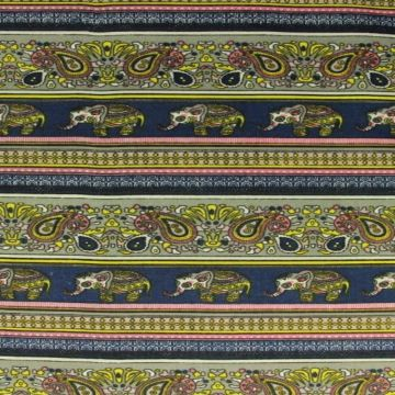 Indian Elephant and Paisley on Navy