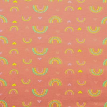 Katoenen Tricot - Love For Rainbows Old Pink