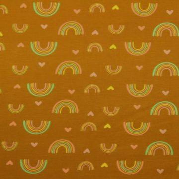 Katoenen Tricot - Love For Rainbows Dark Ocher