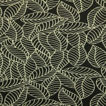 Katoenen Tricot - Autumn Leaves Black