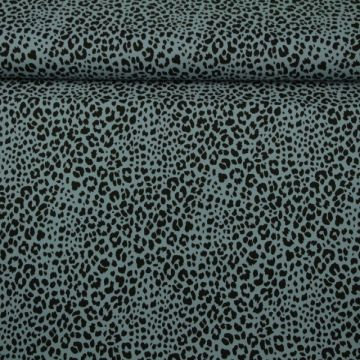 Katoenen Tricot - Cheetah Spots Light Steelblue