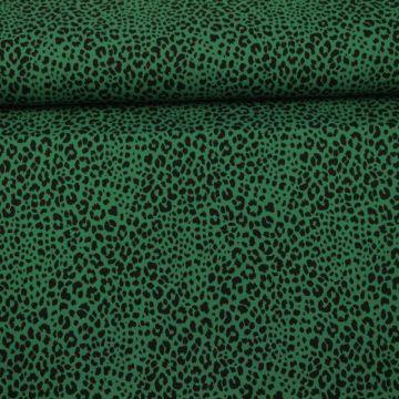 Katoenen Tricot - Cheetah Spots Dark Green
