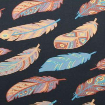 Katoenen Tricot - Aztec Feathers Navy