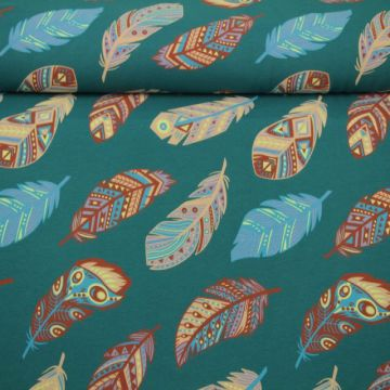 Katoenen Tricot - Aztec Feathers Dark Petrol